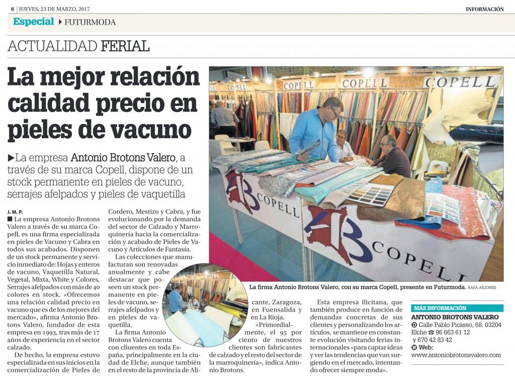 Nota de Prensa Diario Información. Jueves, 24 de Marzo de 2017